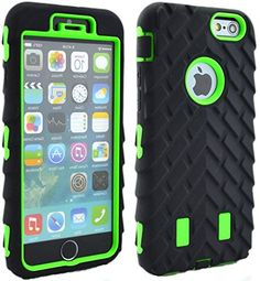"""myLife Shockproof Rubberized Security Armor for iPhone 6 Plus (5.5"""" Inch) by Apple {Neon Green and Black """"Textured Tire Tread"""" Three Piece TUFF-Fit Full Body Case} myLife Brand Products http://www.amazon.com/dp/B00PBEO3HG/ref=cm_sw_r_pi_dp_AZ5yub0X0S578"""