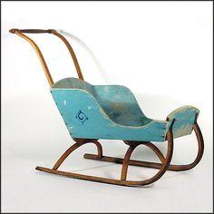 Antique Child's Sleigh / Sled in Original Blue Paint - Americana - Folk Art - Naive - Primitive - Children's - Baby