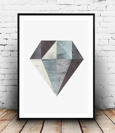 Diamante de impresión, arte minimalista, geométrico poster impresión, geométrica, arte acuarela, arte de pared de diamante, estilo nórdico, escandinava impresión,
