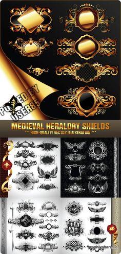 Stock Vector - Medieval Heraldry Shields
