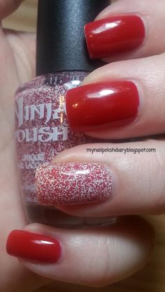 Color Club Cadillac Red with Ninja Polish Candy Cane Floam accent nail