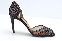 Valentino Shoe Diamante Netting D'Orsay Pump 37.5 / 7.5