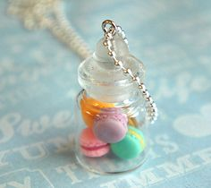 french macarons in a jar necklace