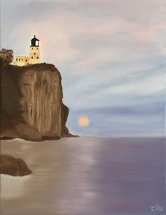 Lighthouse Painting, 11 x 14, Oil Painting, Original Art, Landscape Painting, Minnesota Painting, Lake Superior Art, Split Rock Lighthouse by CFineArtStudio on Etsy