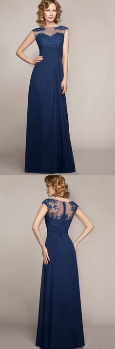 bateau neckline long a-line/princess navy chiffon bridesmaid dress