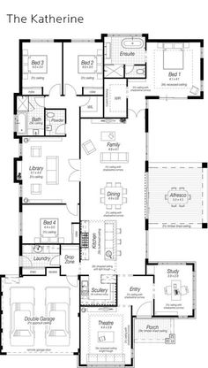 """Like the concept of the kitchen being open to family areas, but having the """"scullery"""" room more enclosed for messier activities. Have sinks in both areas, but the big sink and dishwashers are in the scullery/pantry. New House Plans, Dream House Plans, House Floor Plans, My Dream Home, Building Plans, Building A House, Casas Containers, House Blueprints, Display Homes"""