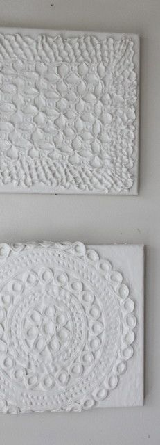 More Artscapes with Doilies.. A mixture of plaster and paint + Doily
