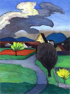 Gabriele Münter | Bäumende Wolke über der Burg • [Der Blaue Reiter]