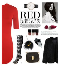 Red Kylie by wearall on Polyvore featuring polyvore moda style WearAll LE3NO Gianvito Rossi Chloé Daniel Wellington Fendi Gorgeous Cosmetics NARS Cosmetics Nails Inc. fashion clothing
