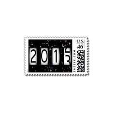 2013 New Years Odometer (With Black Confetti) Stamps ($21) ❤ liked on Polyvore