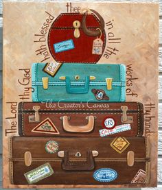 The Creator's Canvas (copyrighted) - 20x24 Vintage Suitcase art-  World Traveler, frequent mover, or retirement painting.  Each luggage decal can hold the places visited, lived, or jobs worked at.  Cool personalized gift!