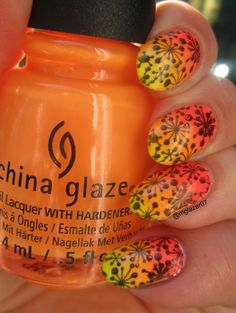 China Glaze Summer 2015 Electric Night gradient, plus some stamping from Uber Chic Beauty plate 1-01.