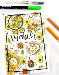 Avocado lover's bullet journal cover! Avocado lover's bullet journal cover!,Kreativ/ Rezepte / Basteln This bullet journal spread is every avocado lover's dream! Credit: Related posts:Wall Art Trends for All You Need to. Bullet Journal School, Bullet Journal Inspo, March Bullet Journal, Bullet Journal Cover Ideas, Bullet Journal Lettering Ideas, Bullet Journal Notebook, Bullet Journal Aesthetic, Bullet Journal Spread, Bullet Journal Ideas Pages