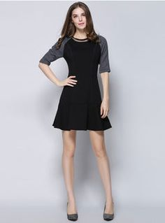 Shop for high quality Black Half Sleeve Aline Dress online at cheap prices and discover fashion at Ezpopsy.com