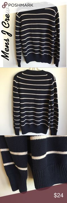 "J Crew Men's Navy White Stripe Size M. Sweater. J Crew Men's Navy White Stripe Size M. Sweater.  Length 27"". Very good condition.  ••••This is a FIRM PRICE••••• J. Crew Sweaters Crewneck"