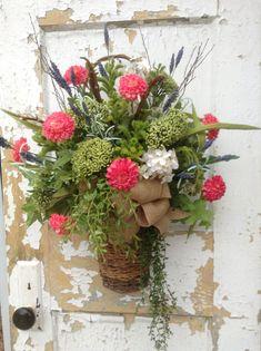 Spring Basket for Door-Spring Wreath Summer by FlowerPowerOhio
