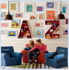 Would love to do this in the play room and use art that the kids make in each of the frames!