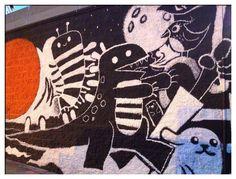 Funky dino wall graffiti