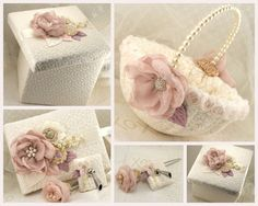 Flower Girl Basket Bridal Basket in Ivory Blush Pink by SolBijou, $95.00