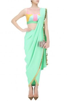 Papa don't preach presents Mint green predraped dhoti saree with colorblock blouse available only at Pernia's Pop Up Shop. Royal Dresses, Indian Dresses, Indian Outfits, Indian Clothes, Dhoti Saree, Saree Gown, Saree Draping Styles, Saree Styles, Blouse Styles