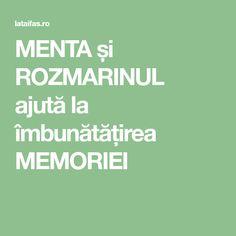 MENTA și ROZMARINUL ajută la îmbunătățirea MEMORIEI