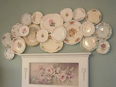 Decorating with Vintage Plates   Love this vintage plate collage! Inspiration.