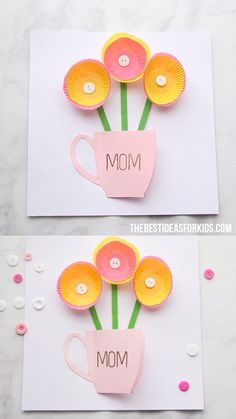 Kids Crafts MOTHER'S DAY CARD 🌸🌼- such a simple and fun handmade Mother's day card! Easy and fun for kids to make as a Mother's day craft. Easy Mother's Day Crafts, Mothers Day Crafts For Kids, Paper Crafts For Kids, Mothers Day Cards, Valentine Day Crafts, Easter Crafts, Paper Crafting, Fun Crafts, Card Crafts