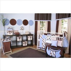 Blue, brown, and tan with polka dots-cute! Maybe substitute blue with pink or purple for a girl.