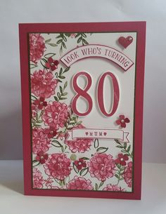Stampin' Up! Demonstrator stampwithpeg – Number of Years. I absolutely love this bundle and have used it so many times, It's my go to set of the moment when I have to make family and fr… Happy 75th Birthday, 80th Birthday Cards, 80th Birthday Invitations, Homemade Birthday Cards, Birthday Cards For Women, 8th Birthday, Homemade Cards, Milestone Birthdays, Mothers Day Cards