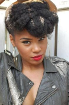 Janelle Monae Inspired Updo for Natural Hair - 50 Cute Updos for Natural Hair - The Trending Hairstyle - Page 46 Natural Hair Updo, Natural Hair Care, Natural Hair Styles, Natural Beauty, Cornrows, Pompadour Style, Classy Updo, Be Natural, Natural Twists