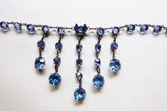 Art Deco sterling open back crystal necklace light blue paste