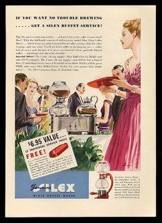 "1938 Silex ""Flamingo Sterno"" & buffet-servie coffee maker"
