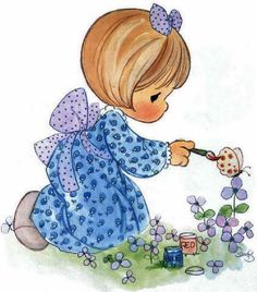 Paint your life the way you want it Cute Images, Cute Pictures, Precious Moments Coloring Pages, Precious Moments Figurines, Sweet Pic, Precious Children, Monster High Dolls, Tole Painting, Cute Illustration