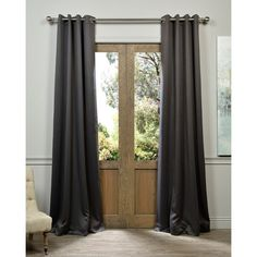 Each blackout curtain panel is fabricated with eight nickel finish grommets. A refined, textured polyester gives these curtains a soft touch and a pleasing drape.