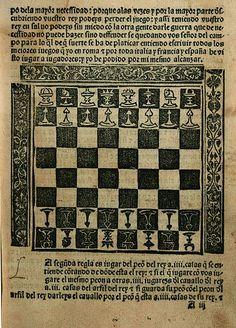 Diagrama de la obra de Luis Ramírez de Lucena, Repetición de amores y Arte de ajedrez, Salamanca, Leonardo Hutz y Lope Sanz, circa 1496.  Datecirca 1496