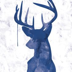 Oh Deer - Navy - Canvas art print - hardtofind.