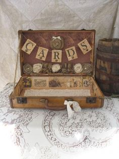 country card container | Vintage Suitcase Wedding Card Holder Shabby Chic Wedding Rustic ...