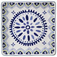 Threshold™ Clifton Dinner Plate Set of 4 - White and Blue Stoneware for $24