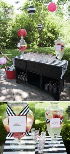Love the black and white stripes with pops of pink for outdoor garden parties - Garten Dekoration Grad Parties, Birthday Parties, Running Gag, Cocktails Bar, Drinks, Kate Spade Party, 70th Birthday, Birthday Ideas, Outdoor Parties