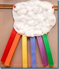 Cotton balls and paper strips - great rainy day activity (pair with the rainbow) - Classroom Crafts and Ideas Rainy Day Activities, Spring Activities, Craft Activities, Book Crafts, Crafts To Do, Crafts For Kids, Arts And Crafts, Preschool Weather, Preschool Crafts