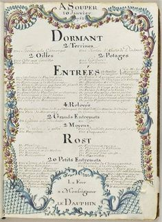 LA TABLE DU ROI LOUIS XVI     Exhibition at le Châteaux de Versailles with table settings and menus from 1762.