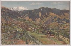 Manitou Springs Colorado Postcard Bird's Eye Panorama View 1940s