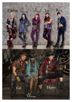 """~Disney Descendants 2 pictures first look at the new villain kids~"" by geminiemerald91 ❤ liked on Polyvore featuring art"