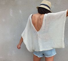 Ivory Poncho Cotton Sweater Boho sweater por HobiholikFashion