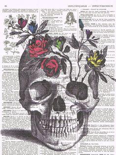RoseSkullflowersskeleton headColourAntique by studioflowerpower, $9.50