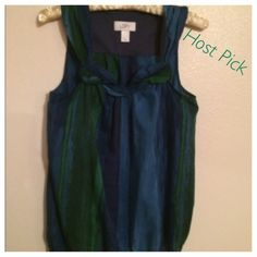 """✨HP✨Ann Taylor Blue/Green Top Cute Ann Taylor Loft summer top. It is shades of blues and greens. It is a size xsmall. Very light weight, material is thin. In pic 2, you can see the details of the front. Super cute!  The only thing is in pic 4, there is very thin elastic on the bottom. It has twisted some but I don't think it takes away from this cute top. Please ask any and all questions. Happy Poshing.   ✨Host Pick✨ 6-1-2015 """"Style Obesessions"""" Party Ann Taylor Tops"""