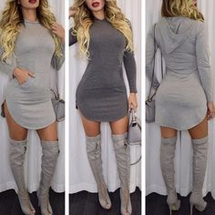 Casual Cotton//Spandex Long Sleeve Hooded Dress (Multiple Colors)