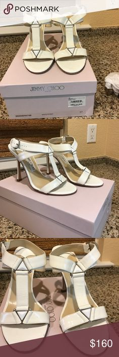 Jimmy Choo white patent sandal pump Jimmy Choo strappy white patent leather sandal size 37.0. Size These have been worn once. In original box (no dust bag)   There are a few scuff marks and patent has some wrinkles. Overall excellent condition. No trades please. Very cute Jimmy Choo Shoes Sandals
