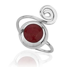 925 Sterling Silver Round Red Coral Adjustable Swirl Ring. Adjustable length fits most fingers (sizes 6-9 or 0.64 -0.71 diameter in inches). Swirl design jewelry for your casual or more formal feminine accessory. Made from durable 925 sterling silver for everyday use. Simple and lovely black velvet pouch packaging for storage and a nice gift presentation. Search Amazon for VENEK00283 and VEEAR00528 for matching necklace and earrings.