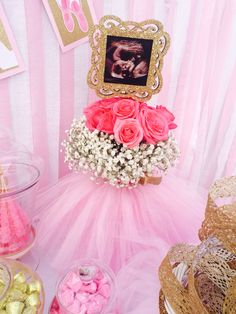 Ultrasound centerpiece for baby shower, ballerina tulle